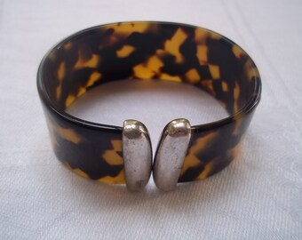 Faux Tortoiseshell and Silver Cuff  Bracelet