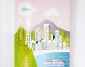 Seattle Wall Art Canvas Skyline, Space Needle, Framed Print, Cityscape illustration, Home decor, Nursery, ready to hang, gift for, MCSE1