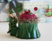 1/2 PRICE SALE Vintage Pottery Christmas Elf Planter Pincushion