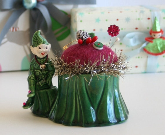 Vintage Pottery Christmas Elf Planter Pincushion