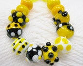 Bumble Bee Lampwork Beads--Yellow, Black And White Beads-School Colors-Iowa Hawkeyes -Steelers