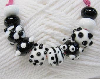 Classic Black  and White Handmade Lampwork Beads-Set 1