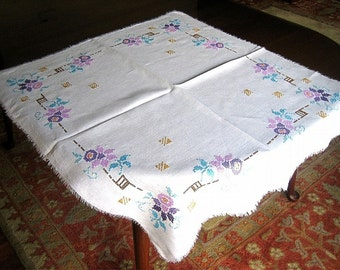 Authentic Vintage Antique Hand Embroidery Linen Embroidered Cross Stitched Flowers Pastels