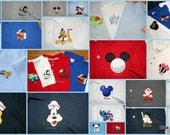 Boys or mens polo with a mouse head with pirate head with earring appliqed on a short sleeved golf shirt men or boys