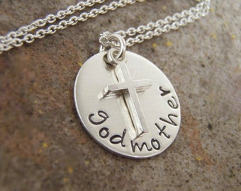 godmother necklace - Cross necklace - Easter necklace - Girl's First Communion - Sterling Silver Personalized - Photo NOT actual size