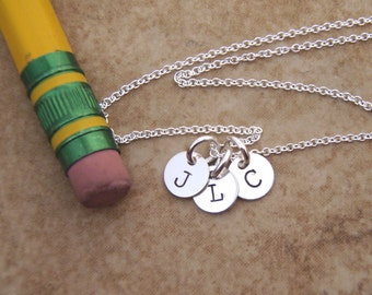 Tiny initial necklace - Mom necklace - Kids initials - Dainty, Small initial, 6mm discs sterling silver necklace - Photo NOT actual size