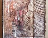 Art Quilt, Fiber Art, Wall Hanging, mixed media, collage art, fiber collage, fiber collage, portraits