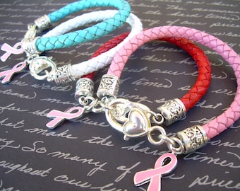 Womens Leather  Bracelet with a Breast Cancer Awareness Ribbon, Charm,Womens Jewelry, Womens Bracelet, Breast Cancer