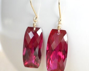 Red Topaz Earrings, Gold Filled,  Deep Red Gemstone, Cushion Cut, Ruby Red Valentines Day Jewelry, Glam Earrings