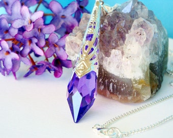 Swarovski Crystal Necklace Blue Violet Single Point Crystal Pendant with 18 or 24 inch Chain