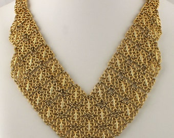 Trifari Gold Tone Bib Necklace