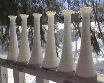 Vintage Set of 6 Tall Milk Glass Vases Matching White Wedding Garden Table Setting