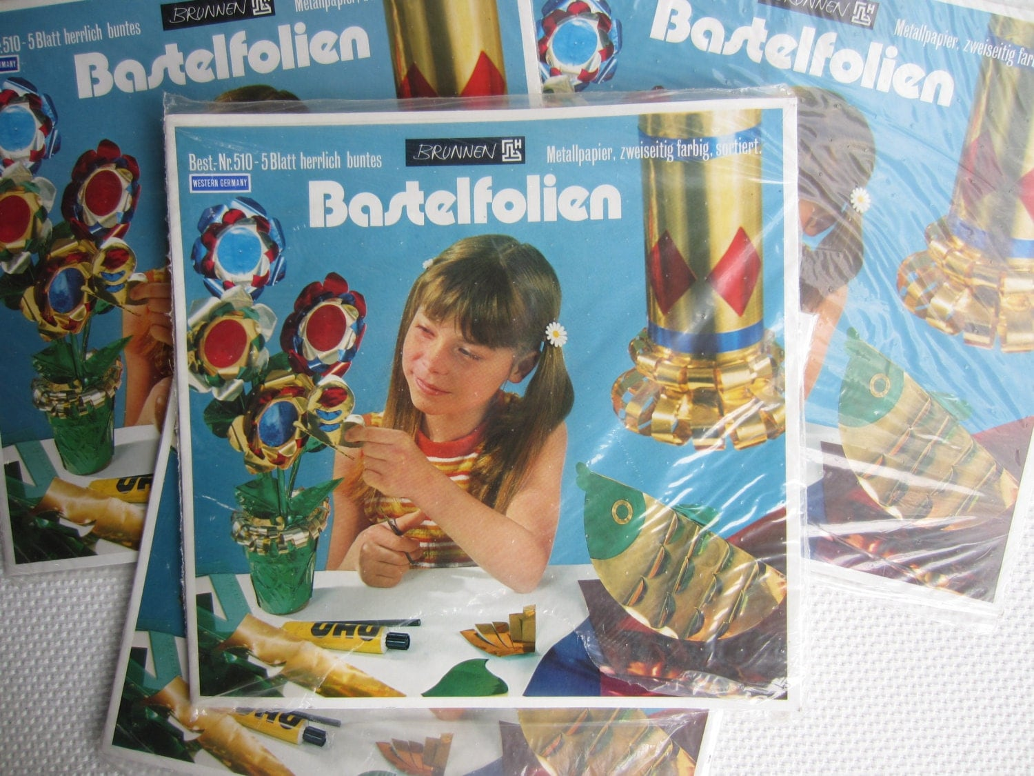 Vintage west german metal paper craft material bastelfolien for West materials crafts