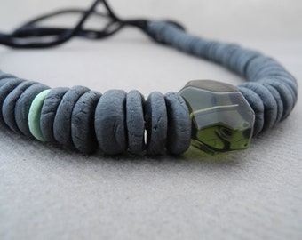 Necklace in porcelain -  adjustable black silk cord - accent beads in mint and faceted moss green