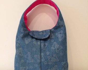 Insulated Lunch Bag Denim Chambray with Silver Butterflies and Pink Interior
