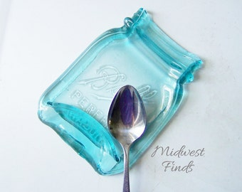 Vintage Pint Melted Mason Jar spoon rest, tea bag holder, desk dish, made from an antique Ball pint jar