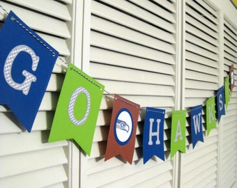 Seahawks Garland, Seahawks Banner, Superbowl, Party Decor, Football, Seattle, Seahawks Party, Football Party, Seahawks Decor, Seattle