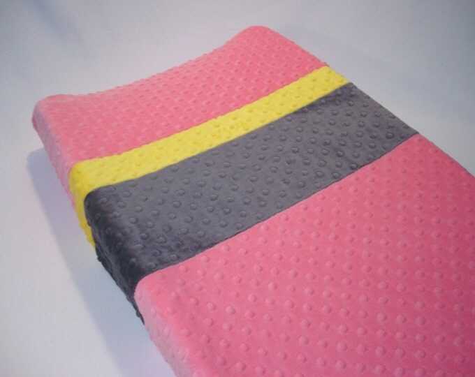 Carnation Pink Changing Pad Cover with Stripes