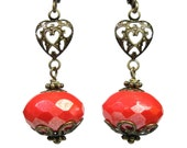 Coral Czech Glass Vintage Style Earrings, Filigree Hearts, Romantic Heart Jewelry, Victorian Style Red Orange Earrings, Affordable Jewelry