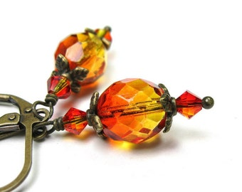 Two-tone Orange and Yellow Czech Glass and Swarovski Dangle Earrings, Fire Opal Swarovski Earrings, Autumn Color Antiqued Brass Earrings