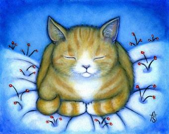 Winter Ginger Tabby Cat in snow print. Winter Berries.