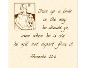 PROVERBS 22:6 --- 8 X 10 Hand Written Calligraphy Art Print Sepia Brown Natural Parchment Text Mother Child Nursery