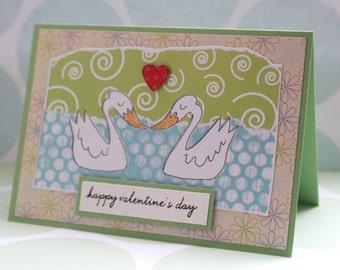 Valentine's Day Card - Pair of Swans - Luxury Handcrafted Card - Lovebirds - Happy Valentine