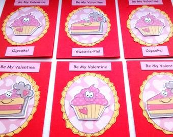 Valentine's Day Mini Cards - Cupcake Sweetie Pie - Kids Cards - Children's Valentine Cards - Handcrafted