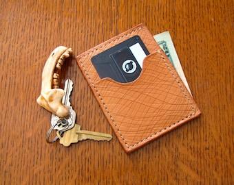 Handmade Leather 2 Pocket Card Holder - Skin Texture
