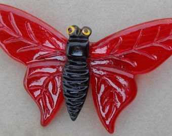 A  Beautiful Translucent  Red Lucite Butterfly ~ Pin / Brooch.