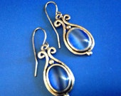 Vintage 1960s Colbalt Blue Moon Glow Glass Scroll Dangle Earrings