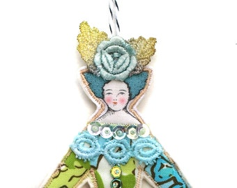 Cloth Art Doll Decoration Small Embellished Flat Fabric Lady Doll Ornament Aqua Blue and Green Textile Art Doll Fabric Art Doll