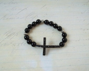 Sideways Cross Black Onyx Stretch Bracelet