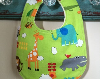 Jungle Friends - Infant or Toddler Bib - Terry Cloth Backing - Reversible with ADJUSTABLE Snaps