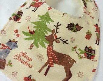 Christmas Deer - Infant or Toddler Bib - Terry Cloth Backing - Reversible with ADJUSTABLE Snaps