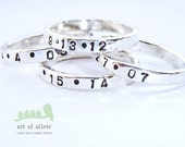Date stamped rings - Handstamped rings  - Name stamped rings - Wedding rings  - Message rings - Baby name rings - Valentines gift