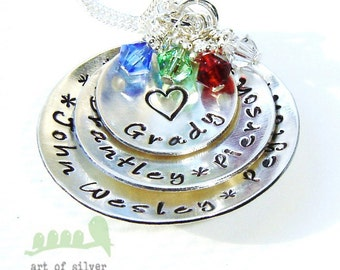 Grandmother handstamped necklace - Personalized name charm necklace - Hand stamped name necklace -  6 names in domed discs necklace
