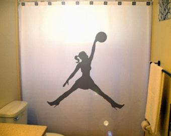 Girls Basketball Shower Curtain Kids Bathroom Decor Bath Jump Sport Woman Layup Jumping Ball Man Waterproof Mildew Resistant Extra Long Wide