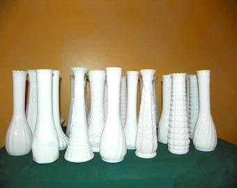 30 Table Ready Vintage White Milk Glass Vases, All Large Vases