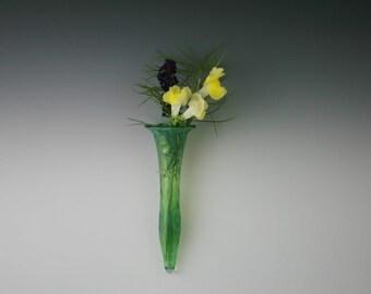 Blown Glass Wall Vase - Handblown Lampwork Wall Pocket - Glass Bud Vase