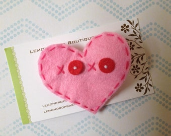 Heart Felt Hair Clip-Red and Pink Felt Heart Hair Bow-Valentine's Day-No Slip Grip-XOXO Hugs and Kisses