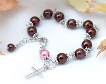 Chocolat and Strawberry Rosary Bracelet