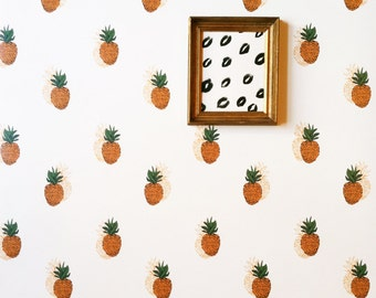 Removable Wallpaper// Pineapple Print // Adheres to walls and shelves // perfect for renters
