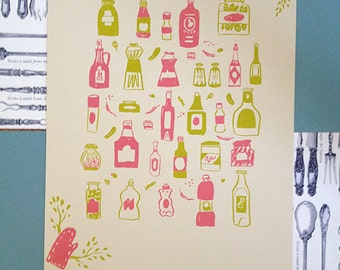 Condiments Pattern Screen Print CLEARANCE