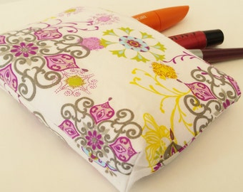 Travel Makeup Bag- Purple, Gray, Yellow, and White Cosmetics Bag- Gadget Case-  Earphone Pouch -- Lined  Zipper Pouch- Purse Organizer