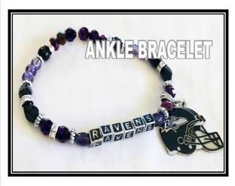 BALTIMORE RAVENS INSPIRED Jewelry Ankle Bracelet  jewelry bracelets handmade