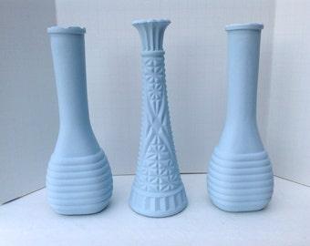 Three Chalk Painted Pastel Blue Bud Vases