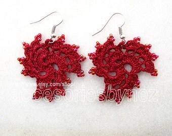 Made to Order--Cotton Crochet Earrings, Crochet Earrings, Dark Red Earrings, Dangle Earrings, Crochet Jewelry, Beadwork Crochet Earrings