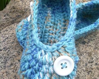 Women's Crochet Blue Slippers   Beachy Blue Crochet Slippers   Hand Crochet Slippers   House Shoes   Crochet Booties   Slippers