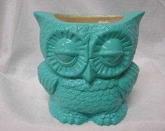 Small Tootsie Pop Owl Mini Vase Turquoise